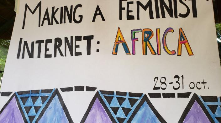 Poster with the legend: Making a Feminist Internet: Africa