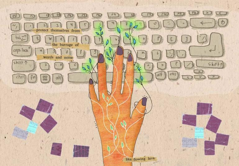 Image description: Collage showing keyboard and fingers