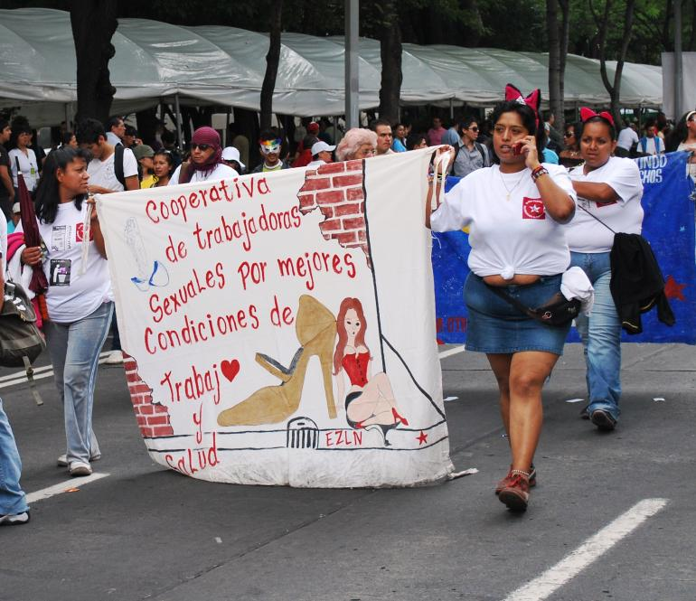 Sex workers march in 2009, Mexico city