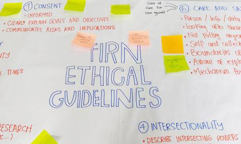 Image description: Flip chart with post-its illustrating the ethical practices