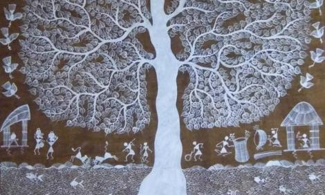 Image description: Warli art depicting tree and village