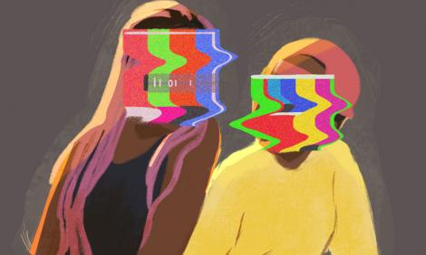 Image description: Illustration of two people sitting side by side, faces covered by tv static