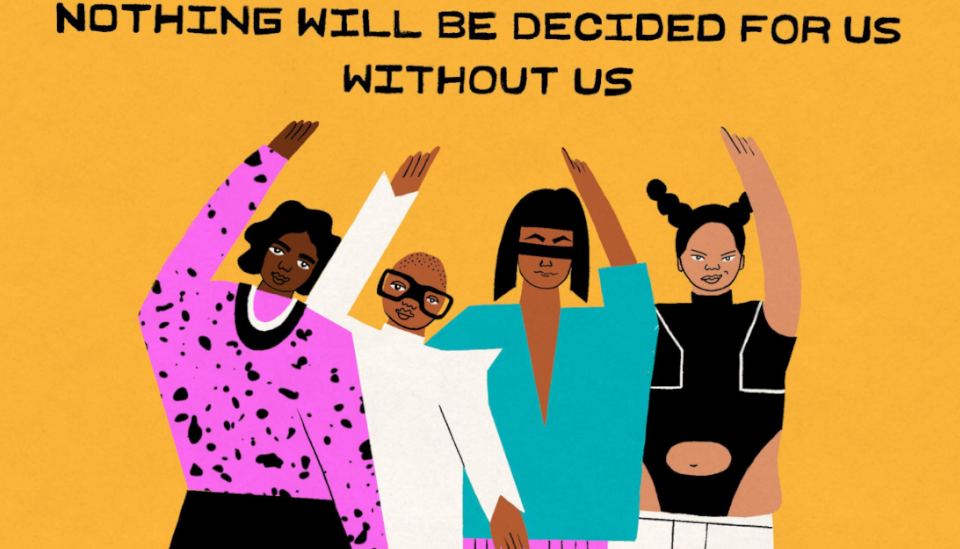 Image description: Illustration showing four different women with fists up