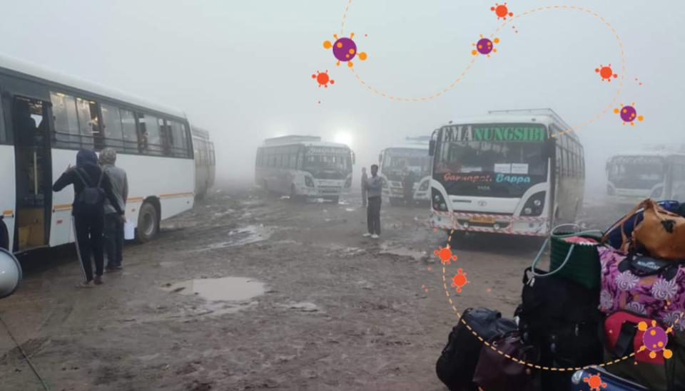Image description: Returnees at bus stand in Manipur