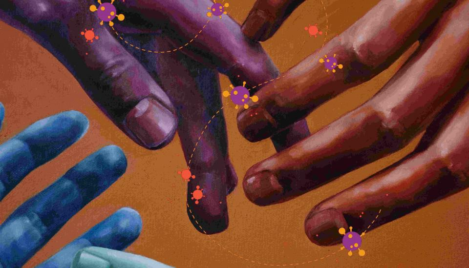 Image description: Painting of different colour hands touching